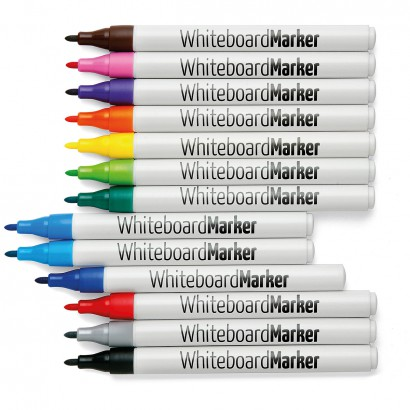 WhiteboardMarker, ronde punt 1 mm, set van 13 kleuren.